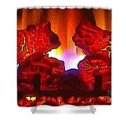 Yule Tide Design Log Creatures Speaking Shower Curtain