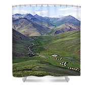 Yurts In The Tash Rabat Valley Of Kyrgyzstan  Shower Curtain by Robert Preston