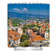 Zagreb Capital Of Croatia Aerial View Shower Curtain