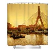 Zakim Bridge Sunset Shower Curtain