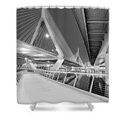 Zakim Bridge Twilight In Boston Bw Shower Curtain