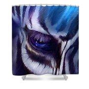 Zebra Blue Shower Curtain