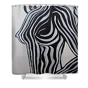 Zebra Body Paint Shower Curtain