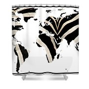 Zebra Fur World Map Shower Curtain
