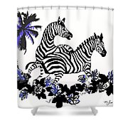 Zebras At Play Shower Curtain