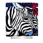 Zebras On A Blue Night Shower Curtain