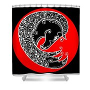 Zen Horse Black Shower Curtain