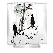 Zen Horses Moon Reverence Shower Curtain