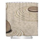Zen Stones On Sand Garden Circles 2 Shower Curtain