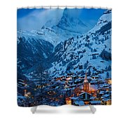 Zermatt - Winter's Night Shower Curtain by Brian Jannsen