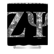 Zeta Psi - Black Shower Curtain