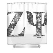 Zeta Psi - White Shower Curtain
