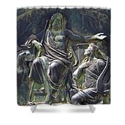 Zeus Bronze Statue Dresden Opera House Shower Curtain by Jordan Blackstone
