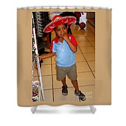 Zihuatanjo Boy In Red Hat Shower Curtain