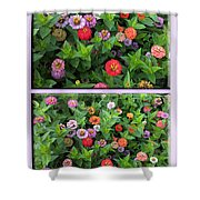 Zinnias 4 Panel Vertical Composite Shower Curtain