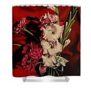 Zinnias And Gladiolas Shower Curtain