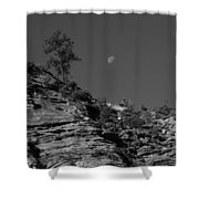 Zion National Park And Moon In Black And White Shower Curtain