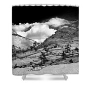 Zion National Park In Black And White Shower Curtain