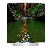Zion Reflections - The Narrows At Zion National Park. Shower Curtain