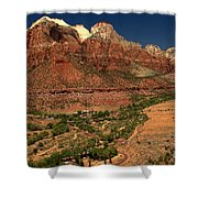 Zion White Caps Shower Curtain