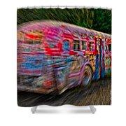 Zooming Graffiti Bus Shower Curtain