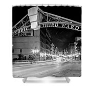 Zooming Past Historic Third Ward Shower Curtain