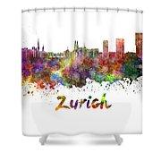 Zurich Skyline In Watercolor Shower Curtain
