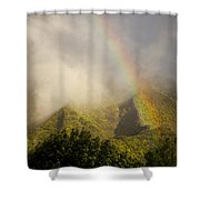 A Rainbow Shines Over The Rugged Shower Curtain