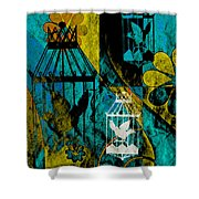3 Caged Birds Grunge Shower Curtain