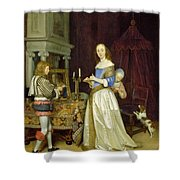 A Lady At Her Toilet Shower Curtain by Gerard ter Borch
