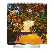 Autumn Leaves A View Shower Curtain