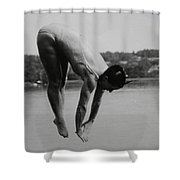 Dive Lake Jump  In The Late  Ninetieth  Shower Curtain