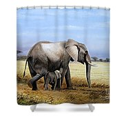 Elephant And Her Child Shower Curtain