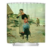 Fisherfolk Returning With Their Nets Shower Curtain