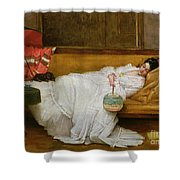 Girl In A White Dress Resting On A Sofa Shower Curtain