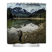 Muleshoe Pond Reflection Banff Shower Curtain