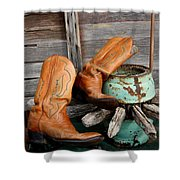 Old Cowboy Boots Shower Curtain