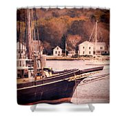 Old Ship Docked On The River Shower Curtain