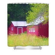 Peaceful Country Barn And Meadow Shower Curtain