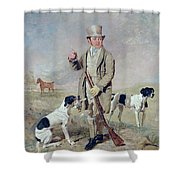 Richard Prince With Damon - The Late Colonel Mellish's Pointer Shower Curtain by Benjamin Marshall