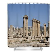 The Oval Plaza In The Ruins Shower Curtain