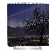 Tree And Snow-capped Mountain Shower Curtain