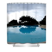 Tree At The Pool On Amalfi Coast Shower Curtain