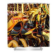 Wild Carrousel Horses  Shower Curtain