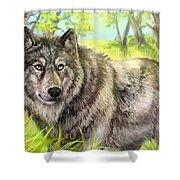 Wolf Summer Shower Curtain