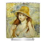 Young Girl With A Straw Hat Shower Curtain