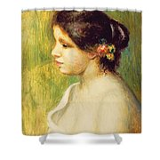 Young Woman With Flowers At Her Ear Shower Curtain