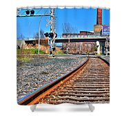 0001 Train Tracks Shower Curtain