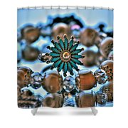 0001 Turquoise And Pearls Shower Curtain