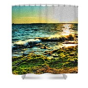00015 Windy Waves Sunset Rays Shower Curtain